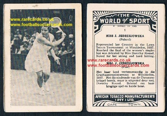 1930's South African Tobacco Cape Town World of Sport tennis card 1 Jadwiga Jed Jędrzejowska